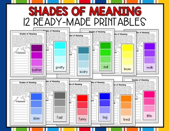 Synonym And Word Choice Activity Paint Chip Packet By Shelly Rees - Paint synonym
