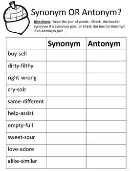 Synonym or Antonym? - Acorns (Fall/Autumn)