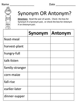 Synonym or Antonym? - Thanksgiving Freebie