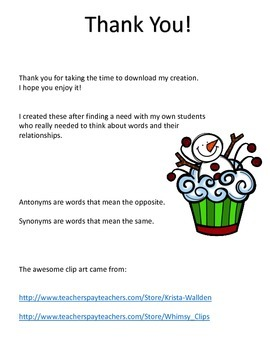 Synonym or Antonym? - Winter/Christmas (Snowman Cupcake)