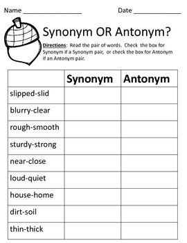 Synonym and or Antonym? - Year Round Assessment Bundle