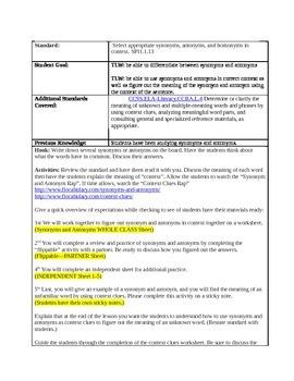 Synonym/Antonym Lesson Plan--5th Grade