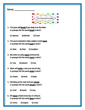 Synonyms - 3 pages of 6 questions per page - Common Core.