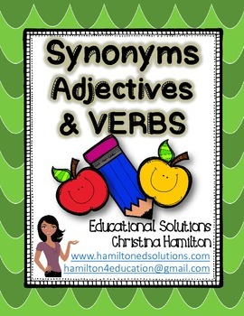 Synonyms, Adjectives, and Verbs Set