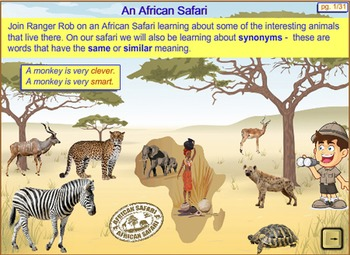 Synonyms - An African Safari. An Interactive SmartBoard and Whiteboard lesson