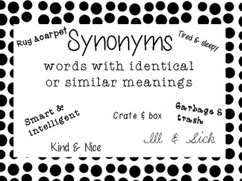 Synonyms Antonyms Anchor Charts
