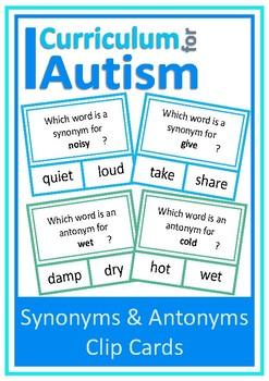 Synonyms Antonyms Autism Special Education ESL