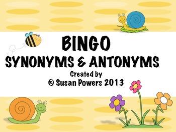 Synonyms & Antonyms Bingo:Fun Literacy Activities
