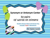 Synonyms & Antonyms Center and Worksheets---Winter Theme