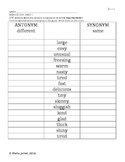 Synonyms & Antonyms, Character Relationships, Nouns & Verbs-Reading