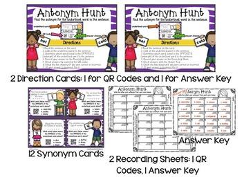 Synonyms & Antonyms GALORE!! 6 Sets, Mix & Match, QR Codes, Mastery Checks