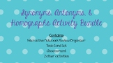 Synonyms, Antonyms, & Homographs Activities, Task Cards, a