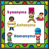 Synonyms, Antonyms, Homonyms, Homophones, and Homographs Mini Lessons