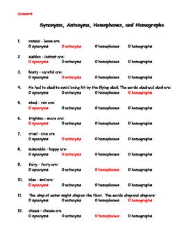 Synonyms, Antonyms, Homophones, Homographs Multiple Choice
