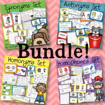 Synonyms, Antonyms, Homophones, Homonyms Bundle Set