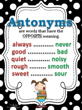 Synonyms, Antonyms, & Homophones POSTERS: Black & White Polka Dot Theme