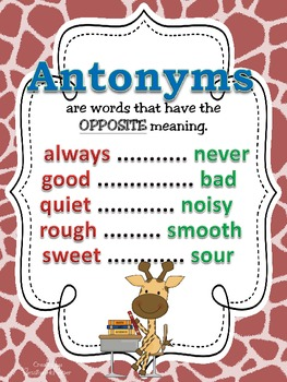 Synonyms, Antonyms, & Homophones POSTERS: Colorful Giraffe Theme