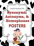 Synonyms, Antonyms, & Homophones POSTERS: Cow Theme