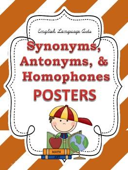 Synonyms, Antonyms, & Homophones POSTERS: Stripe Theme