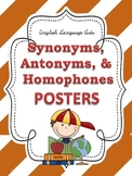 Synonyms, Antonyms, & Homophones POSTERS: Stripe Theme