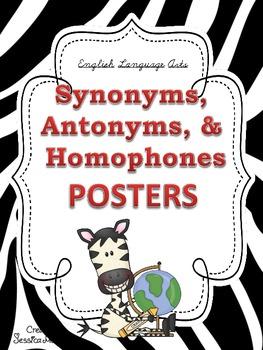 Synonyms, Antonyms, & Homophones POSTERS: Zebra Theme