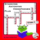 Synonyms, Antonyms, Homophones Early Finishers CROSSWORD PUZZLES   Gr 3-4 LISTS