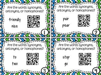 Synonyms, Antonyms, & Homophones QR Codes