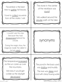 Synonyms, Antonyms, Homophones, and Homographs Spoons Game (Word Relationships)