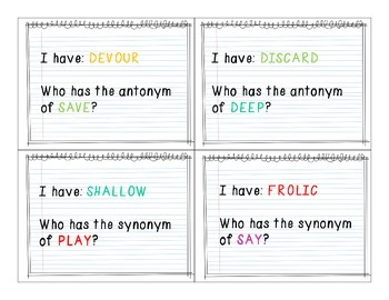 Synonyms & Antonyms: I Have, Who Has