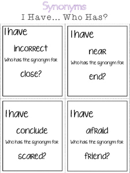 Synonyms & Antonyms:  I Have... Who Has?  Grammar Game