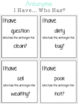 Synonyms & Antonyms:  I Have/Who Has?  Grammar Game