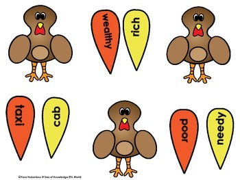 Thanksgiving Synonyms & Antonyms Interactive Center {Build a Turkey}