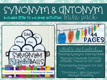 Synonyms & Antonyms Mini Pack- Winter Themed