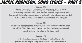 Synonyms & Antonyms Passage Worksheets Using Jackie Robinson Biography Rap Song