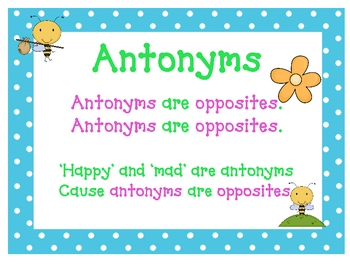 Synonyms & Antonyms Printable Posters