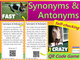 Synonym & Antonym Task Cards with QR codes FREE