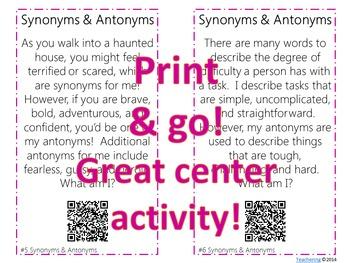 Synonym & Antonym Task Cards with QR codes FREE