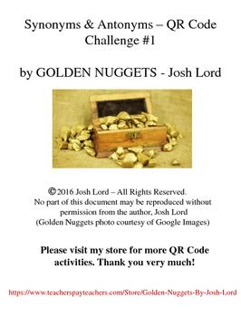 Synonyms & Antonyms QR Code Challenge #1 3rd, 4th, 5th grade
