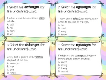 Synonyms & Antonyms SCOOT! Game, Task Cards or Assessment w/ 2 Posters