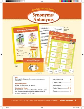 Synonyms/Antonyms (Take It to Your Seat Centers)