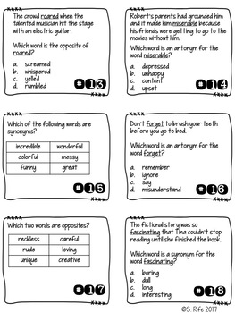Synonyms & Antonyms Task Cards