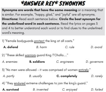 Synonyms and Antonyms Passage with Worksheets Using Superhero History Rap  Song