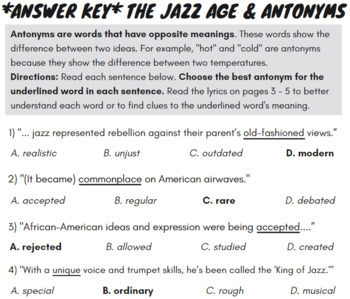 Synonyms and Antonyms Passage with Worksheets Using Jazz Age History Rap  Song