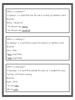 Synonyms, Antonyms, and Homonyms