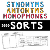 Synonyms, Antonyms, and Homophones Sorts