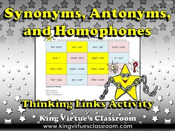 Synonyms, Antonyms, and Homophones Thinking Links Activity #1 - King Virtue