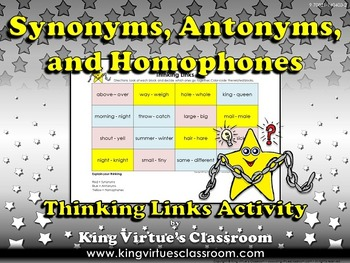 Synonyms, Antonyms, and Homophones Thinking Links Activity #2 - King Virtue