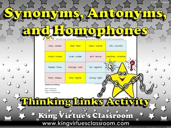 Synonyms, Antonyms, and Homophones Thinking Links Activity #3 - King Virtue
