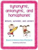 Synonyms, Antonyms, and Homophones Unit Bundle-Based on Common Core