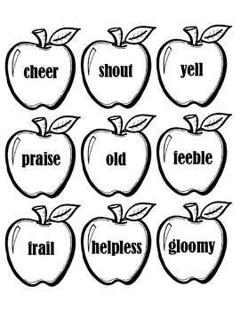 Synonym Apples and Tree - Black and White Activity